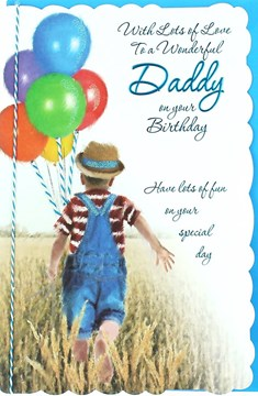 "Daddy Birthday Card - Little Boy, Bright Balloons & Big Wheat Field 10.5"" x 7"""