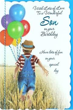 "Son Birthday Card - Little Boy, Multicoloured Balloons & Wheat Field 10.5"" x 7"""