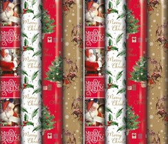 40m (8 x 5m) Christmas Gift Wrapping Paper - Traditional Santa Holly Xmas Tree