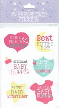 Pack Of 12 Baby Shower Stickers - 2 Sheets - 12 Different Bright & Fun Designs