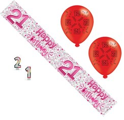 Age 21 Female Birthday Party Pack - 21st Banner, Balloons, Number Candles,