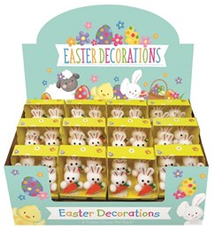 1 x Pack Of 4 Small White Easter Bunnies - Bonnet Making Cake Decorations