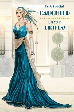 "Daughter Birthday Card - Glamorous Woman, Vintage Blue Dress & Headdress 9"" x 6"""