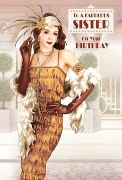 "Sister Birthday Card - Glamorous Woman, Vintage Gold Dress & Feather Boa 9"" x 6"""