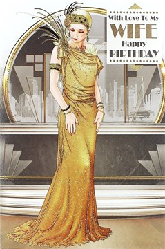 "Wife Birthday Card - Glamorous Woman, Gold Glitter Dress & Bracelets 9"" x 6"""
