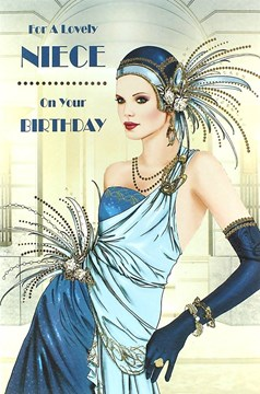 "Niece Birthday Card - Glamorous Woman, Blue Dress & White Roses 9"" x 6"""