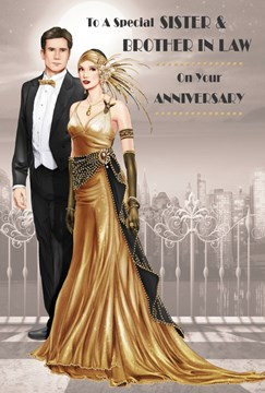 """Sister & Brother-in-Law Anniversary Card - Glamorous Couple & Grey City 9"""" x 6"""""""