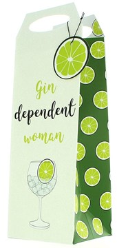 """Bottle Female Gift Bag - Green Gin Dependent Woman Glass & Lime 14.5"""" x 5"""""""