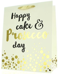 "Large Unisex Gift Bag - Ivory & Gold Happy Cake & Prosecco Day 13"" x 10.5"""