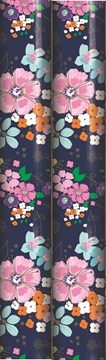 6m Female Floral Gift Wrapping Paper Roll - 2 x 3m - Navy Blue & Bright Flowers