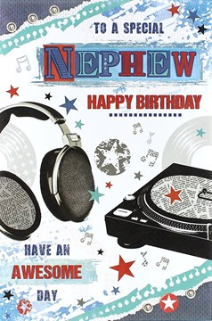 "Nephew Birthday Card - Black Headphones, Record Player & Blue Stars 8.5"" x 5.5"""