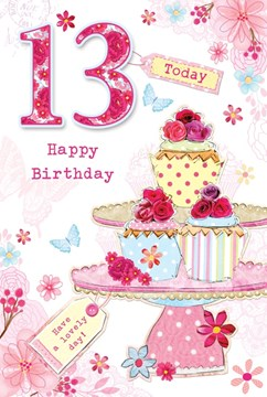 """Age 13 Girl Birthday Card - Bright Cupcakes, Flowers & Butterflies 8.5"""" x 5.5"""""""