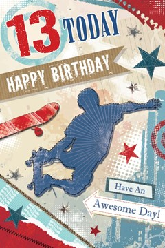 "Age 13 Boy Birthday Card - Young Boy Outline, Skateboards & Stars 8.5"" x 5.5"""