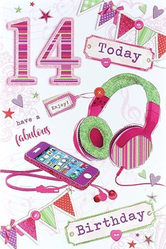 "Age 14 Girl Birthday Card - Pink Phone, Green Headphones & Bunting 8.5"" x 5.5"""