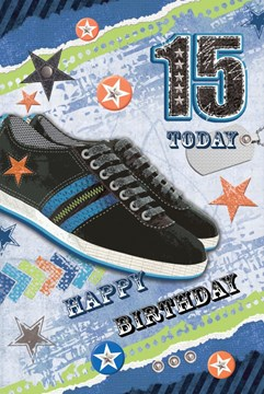"Age 15 Boy Birthday Card - Black Trainers, Bright Stripes & Stars 8.5"" x 5.5"""