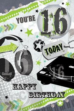 "Age 16 Boy Birthday Card - Headphones, Record Player & Green Stars 8.5"" x 5.5"""