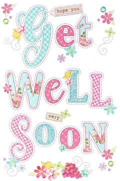 "Get Well Soon Greetings Card - Blue Patterned Text & Pink Flowers 8.5"" x 5.5"""