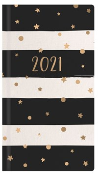 2021 Slim Pocket Week To View Diary - Black & White Stripes With Gold Stars