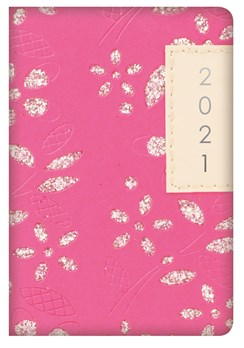 2021 Small Pocket Week To view Diary - Leather Effect Glitter Floral - Hot Pink