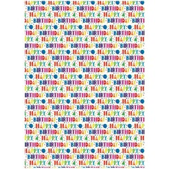 Multicoloured Happy Birthday Wrapping Paper - 1 Sheet & Matching Gift Tag