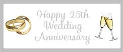 Silver 25th Anniversary Personalised Landscape Party Banner - Add Your Message