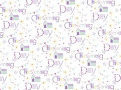 Unisex Christening Gif Wrapping Paper Teddy & Church 1 Sheet & Matching Gift Tag