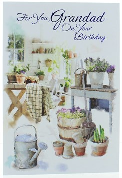 """Grandad Birthday Card -Watering Can Table & Plants in Pots with Foil 7.5 x 5.75"""""""
