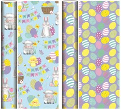 4m Happy Easter Gift Wrapping Paper Roll - 2 x 2m - Bunny, Chicks & Easter Eggs