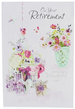 """Retirement Greetings Card -Bouquet of Flowers with Silver Foil 7.5"""" x 5.25"""""""