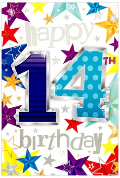 """Age 14th Birthday Card - Blue 14 & Stars with Silver Foil Detail  7.75 x 5.25"""""""