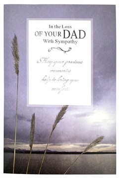 Loss Of Your Dad Sympathy Card - Sky over Water Silver Foiled Writing 7.5x5.25""