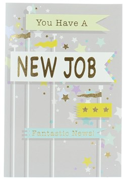"""Good Luck In Your New Job Greeting Card - Stars & Gold Foil  7.75"""" x 5.25"""""""