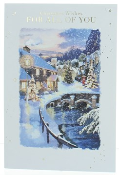 To All of You Christmas Card Winter Street by River Glitter Gold Foil 7.5x5.25""