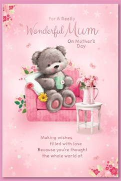 """Mum Mother's Day Card - Grey Bear on Pink Chair with Glitter and Pink Foil 9x6"""""""