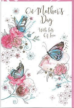 Open Mother's Day Greetings Card Pink Flowers Blue Butterflies Glitter Foil 9x6""