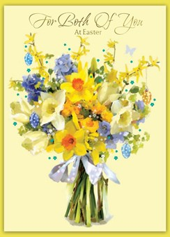 """Both of You Easter Card - Daffodils Blue Flowers with Gold Foil Writing 7x5"""""""