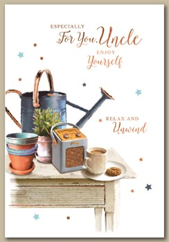 """Uncle Birthday Card - Table with Tea a Watering Can & Radio with Foil 7.5x5.25"""""""