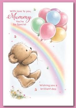 "Mummy Birthday Card - Bear with Balloons Rainbow & Glitter  7.5"" x 5.25"""