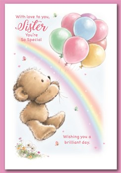 """Sister Birthday Card - Bear with Balloons Rainbow & Glitter 7.5"""" x 5.25"""""""