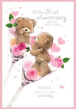 """First 1st Wedding Anniversary Card - Bears in Glasses with Pink Roses 7.75x5.25"""""""