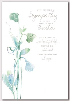 """Loss of Your Brother Sympathy Card - Green Flowers and Silver Foil 7.5"""" x 5.25"""""""
