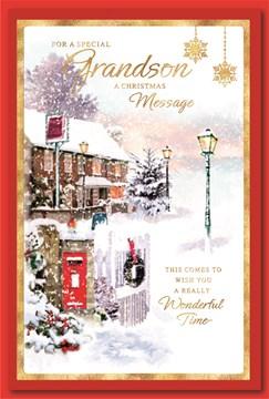 "Grandson Christmas Card - Snowy Pub, Gate & Postbox with Foil & Glitter  9 x 6"""