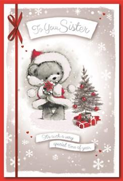 "Sister Christmas Card - Cute Santa Bear Xmas Tree Red Baubles Foil Glitter 9x6"""