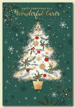 """Wonderful Carer Christmas Card - Tree with Silver Glitter & Gold Foil 7.5x5.25"""""""