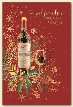 """Grandson Christmas Card -Bottle of Red Wine & Glass with Glitter & Foil 7.5""""x 5"""""""