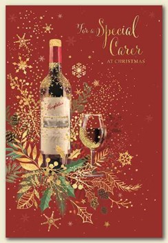 """Special Carer Christmas Card - Bottle of Red Wine with Gold Foil 7.5"""" x 5.25"""""""