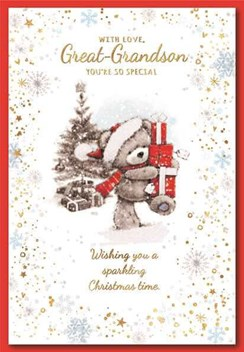 """Great Grandson Christmas Card - Bear In Santa Hat with Gifts Glitter 7.5 x 5.25"""""""