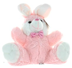 "12"" Light Pink Easter Bunny Rabbit Soft Toy Plush Wearing Pink Satin Bow"