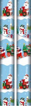 10m (2 x 5m) Children's Christmas Gift Wrapping Paper - Blue Santa & Friends