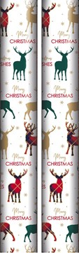 10m (2 x 5m) Modern Christmas Gift Wrapping Paper - Red Gold Green Stag Deer